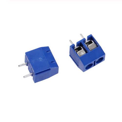 Straight Plug IN Schroef PCB Blokaansluiting 5.08mm Pitch blauw, KF-301 2Pin, zakje van 10 stuks