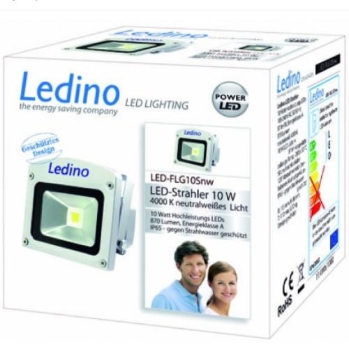 Ledino LED Schijnwerper 230v 10W 4000K ZILVER