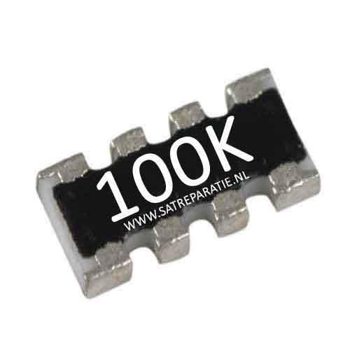 Weerstand SMD netwerk 4x 100K ohm, 5%
