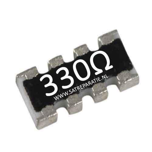 Weerstand SMD netwerk 4x 330 ohm, zakje van 10 stuks