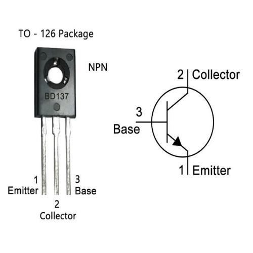 BD137 NPN Transistor, 1.5 A, 60 V, 3-Pin TO-225