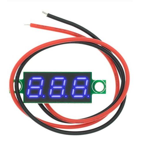 Mini digitale voltmeter tester DC 2,5-30V, Blouw, eenvoudig aan te sluiten