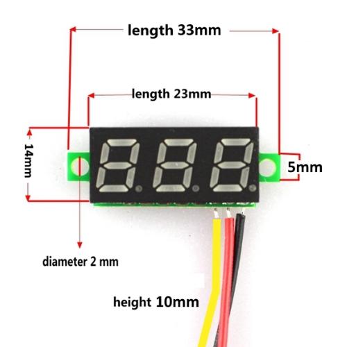 Mini digitale voltmeter tester DC 0-100V, Blauw, Rood of Groen, eenvoudig aan te sluiten