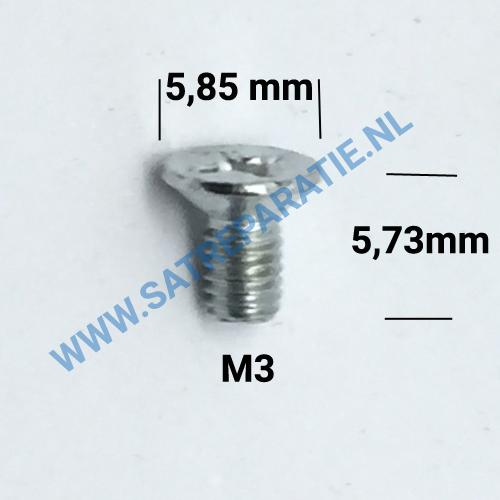 M3x6 Zilver schroeven plat, 3x6mm, zakje van 10 stuks