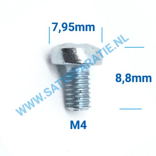 M4x8 Zilver schroeven, 4x8mm, zakje van 10 stuks