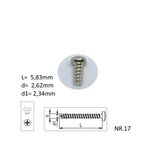 M3x5,83mm metaalschroeven, verpakt per 10 stuks
