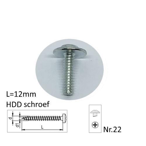 12mm lang, harde schijf schroeven, verpakt per 10 stuks