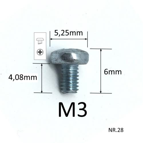 M3x4,07mm Metal schroeven, verpakt per 10 stuks