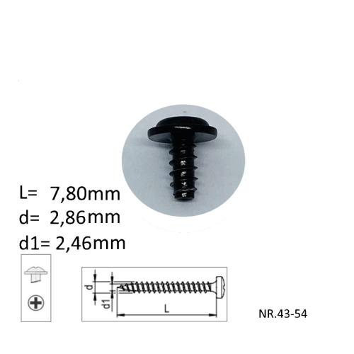 M3x7,38mm metaalschroeven, verpakt per 10 stuks