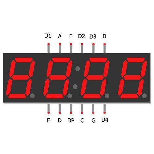 Arduino 4x7 groen segment dispaly LFD4562-10 SP7 4 stuks